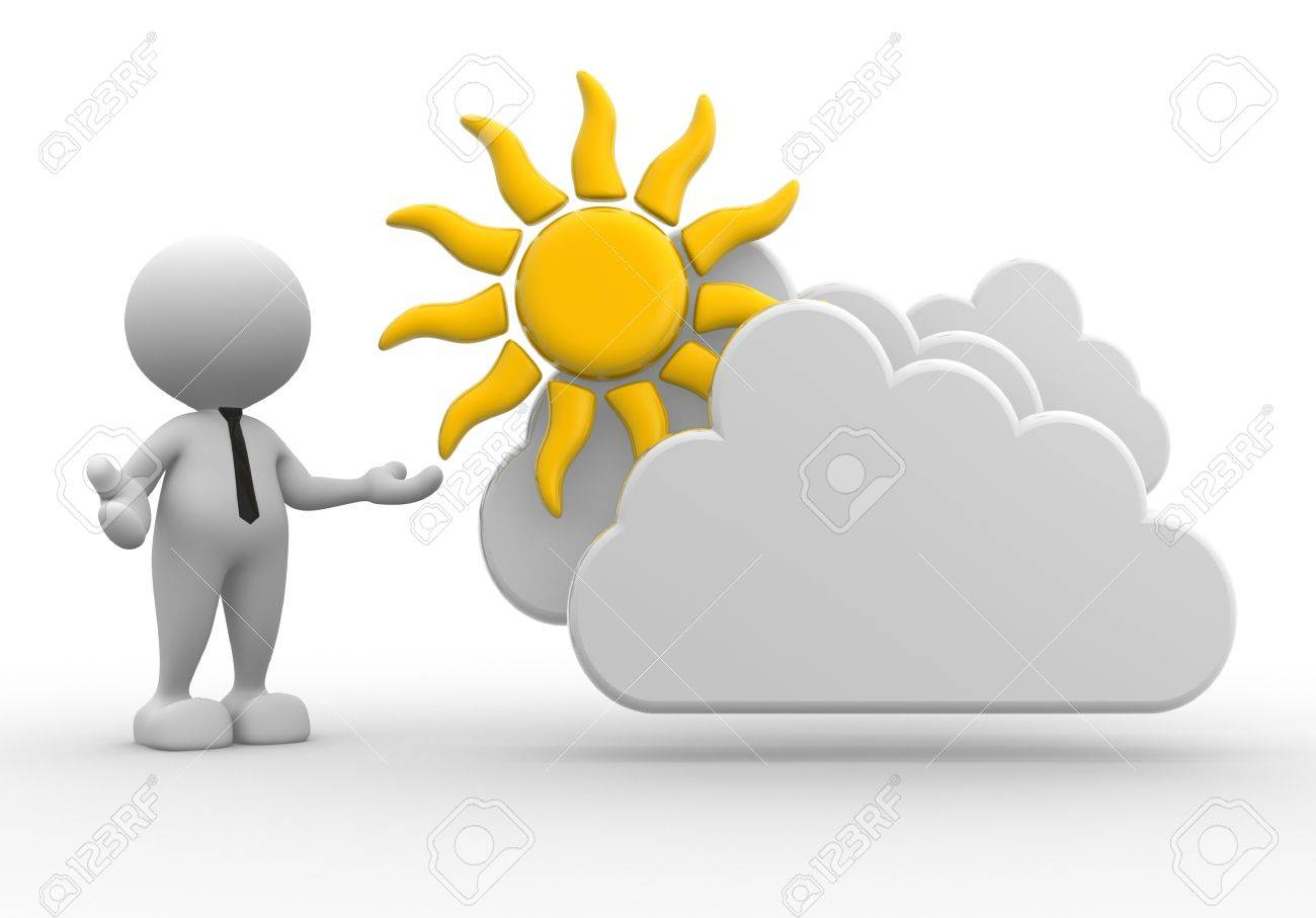3d people - man, person standing near to a cloud and a sun. Drawing. Businessman Standard-Bild - 17640064