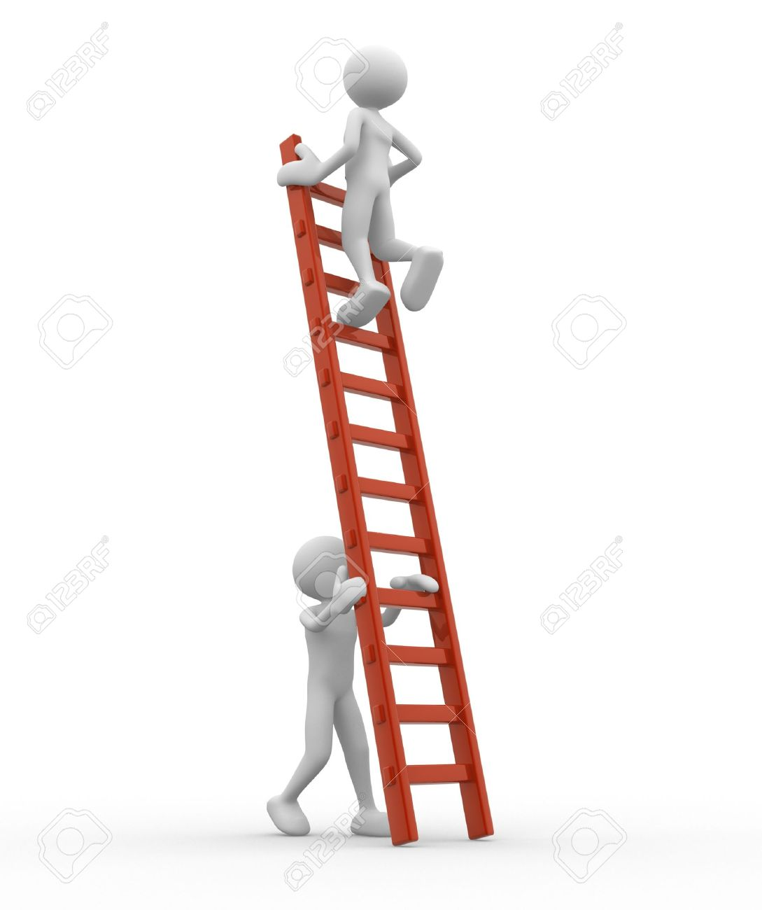 3d people - man, person is helping another to climb a ladder Standard-Bild - 17639998