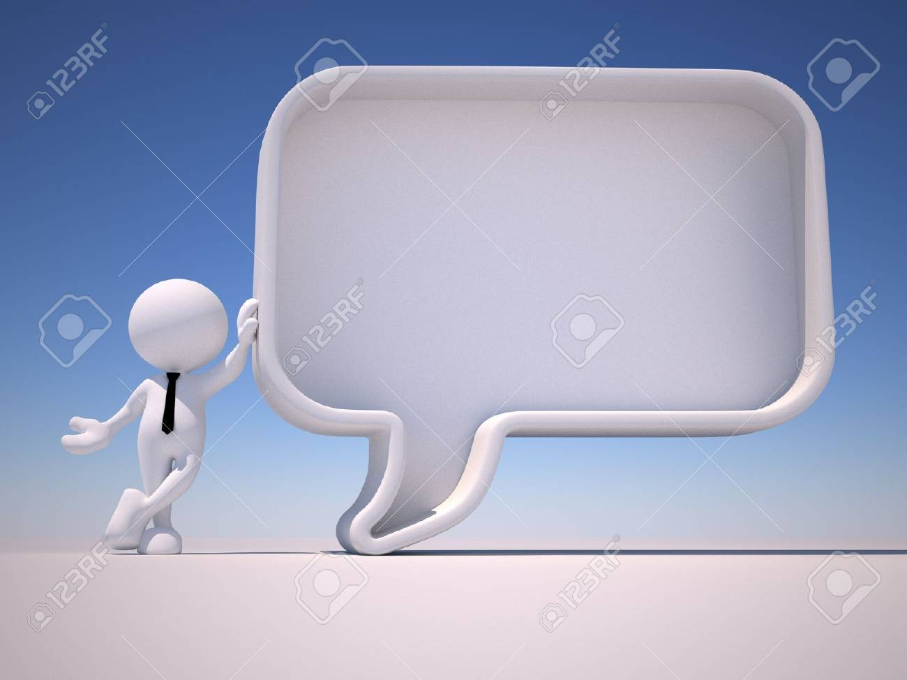 3d people - man, person with a blank speech bubble. Communication concept Standard-Bild - 18712476