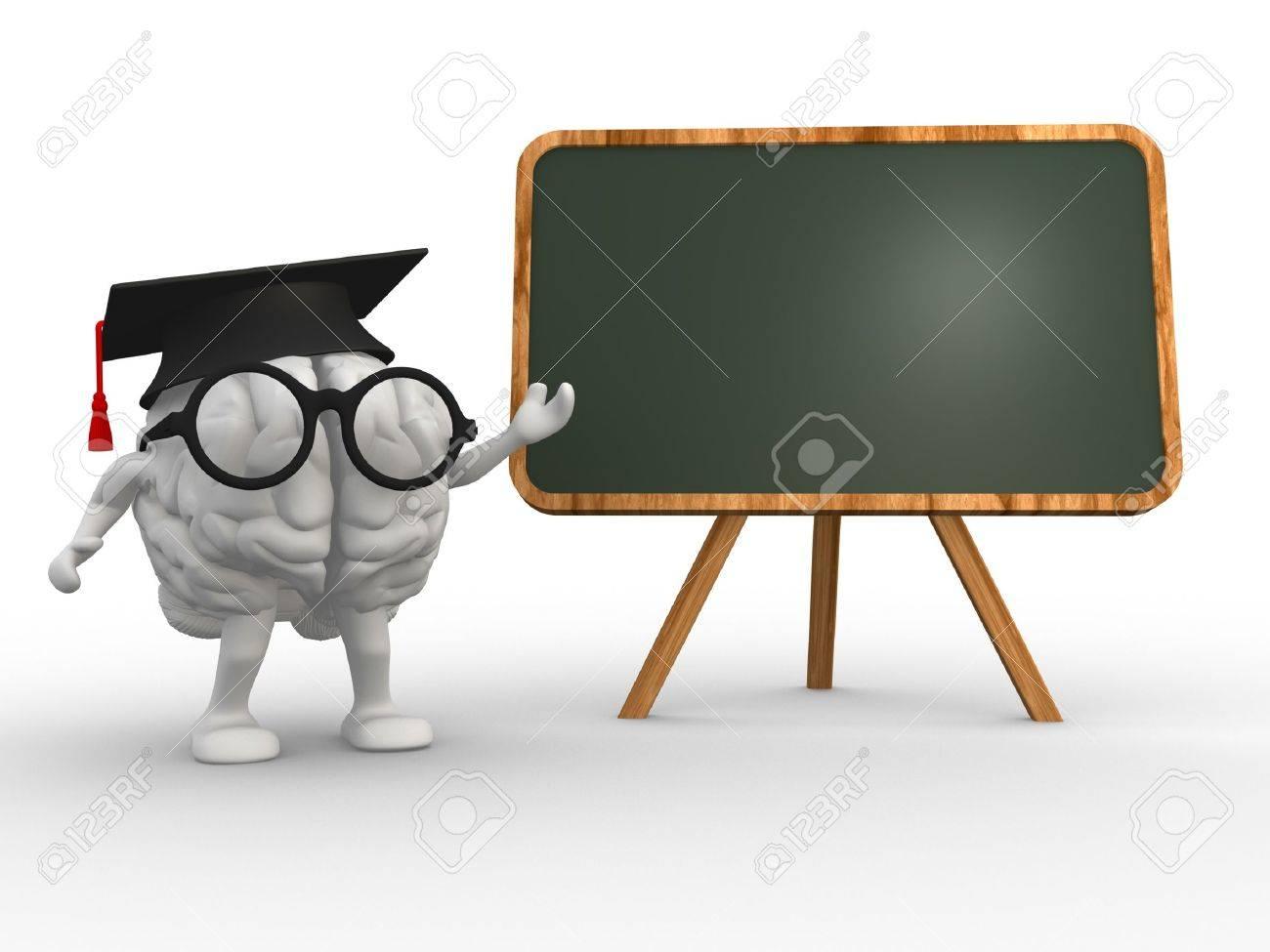 3d brain and a backboard. Concept of intelligence Standard-Bild - 18712474