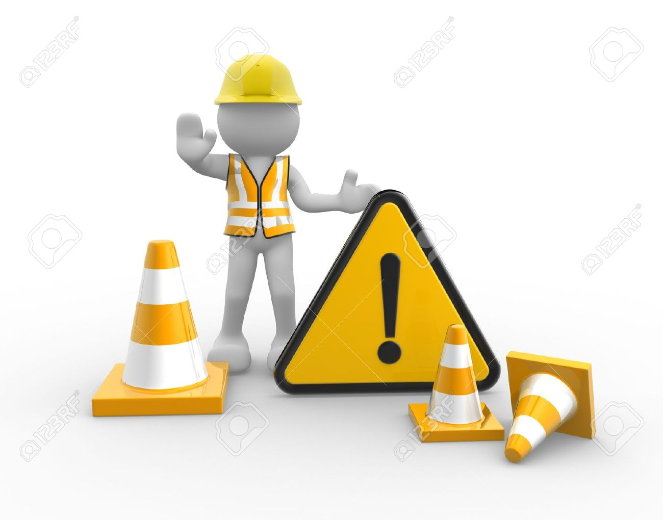 3d people - man, person worker with traffic coins and warning sign Standard-Bild - 18712478