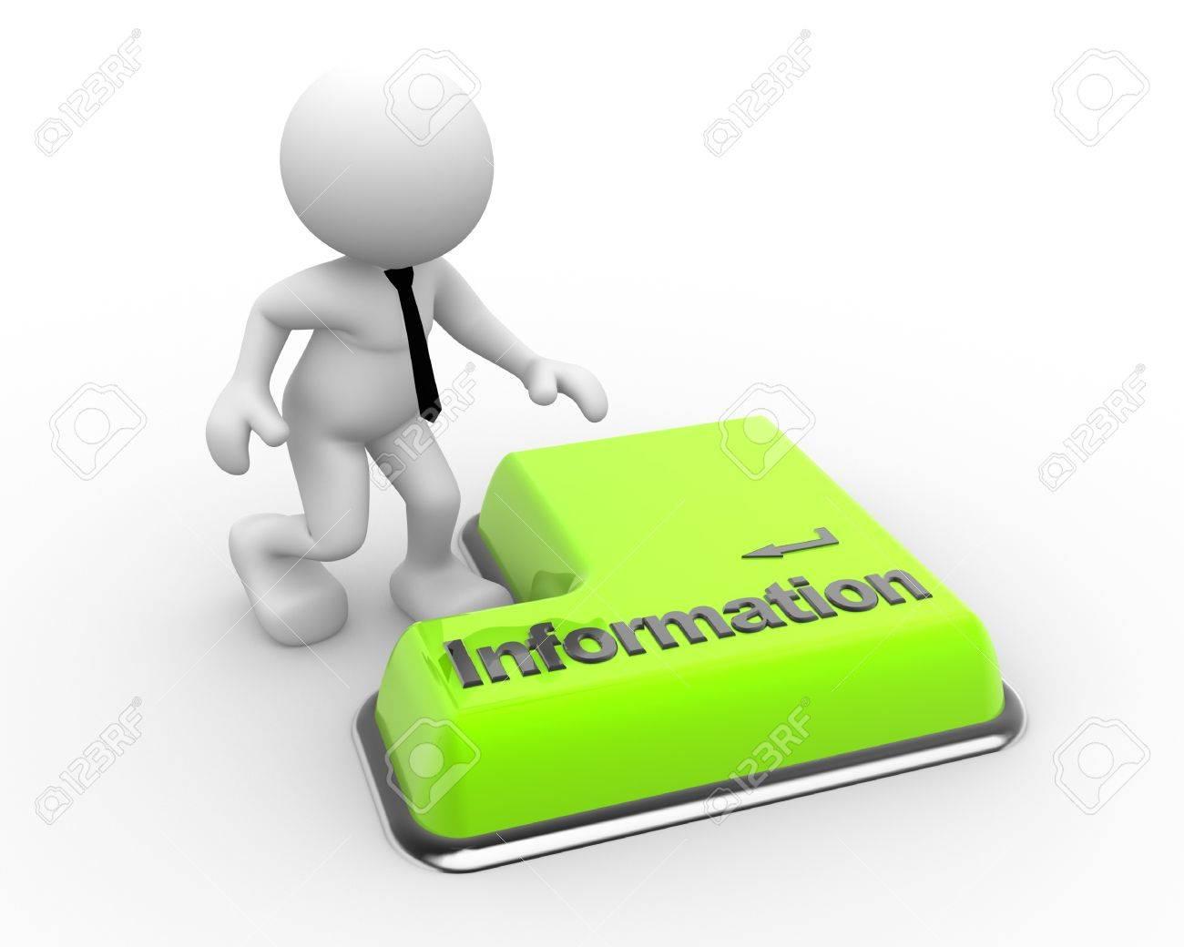 3d people - man, person information keyboard button. Businessman Standard-Bild - 18783990