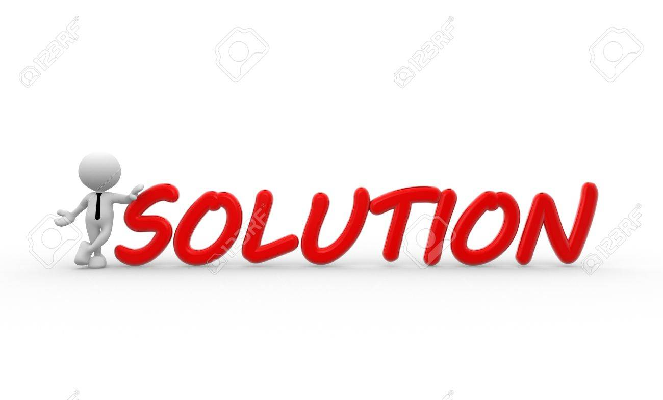 3d people - man, person standing near a red solutions text. Businessman Standard-Bild - 18783967