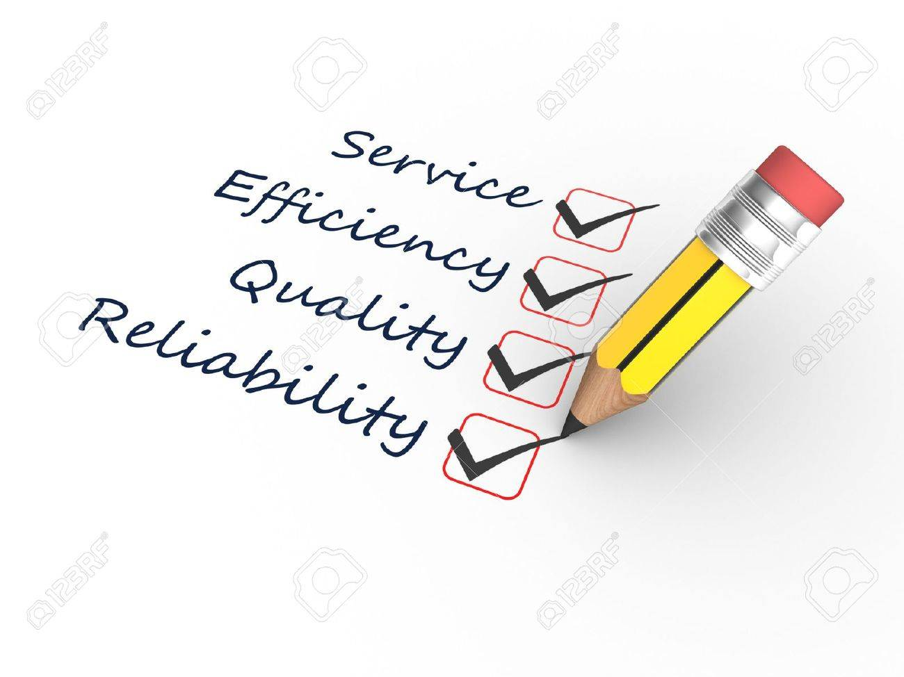 3d render a pencil and Reliability, Efficiency, Quality, Service Stock Photo - 19986193