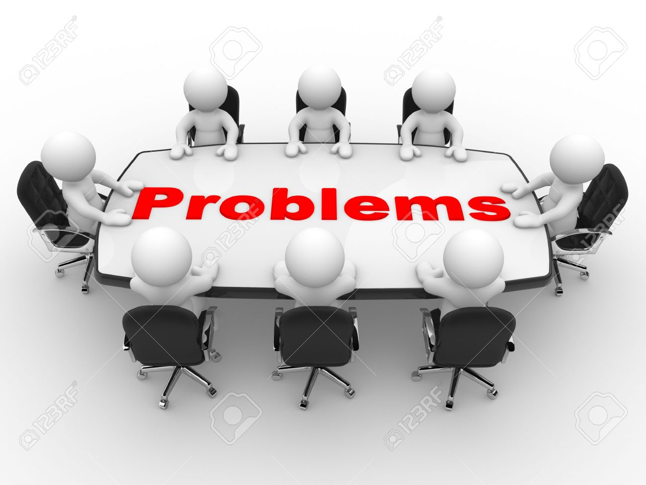 3d people - men, person at conference table  Business problems Standard-Bild - 19986195