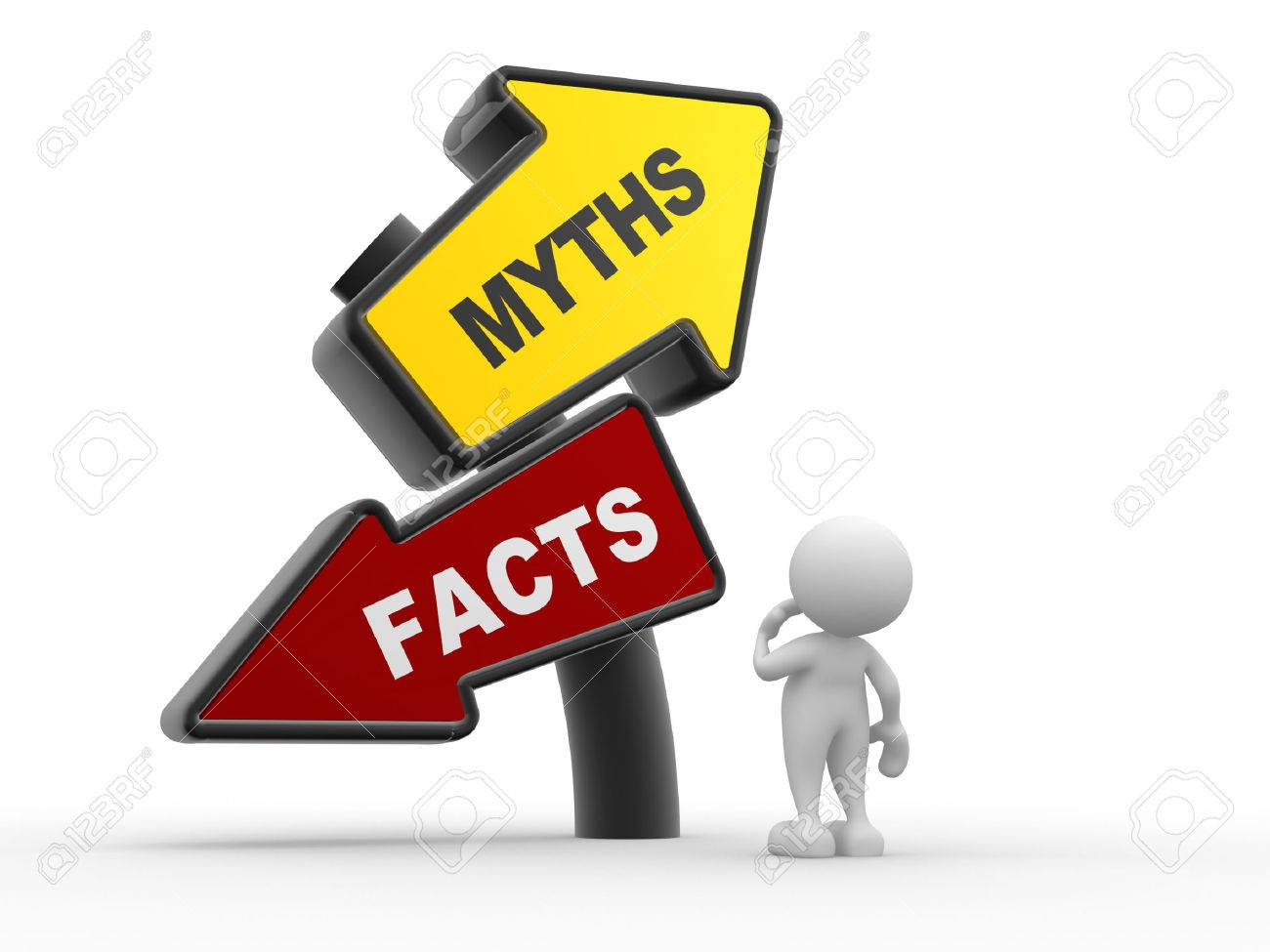 3d people - man, person and directional sign of facts versus myths Standard-Bild - 24896736