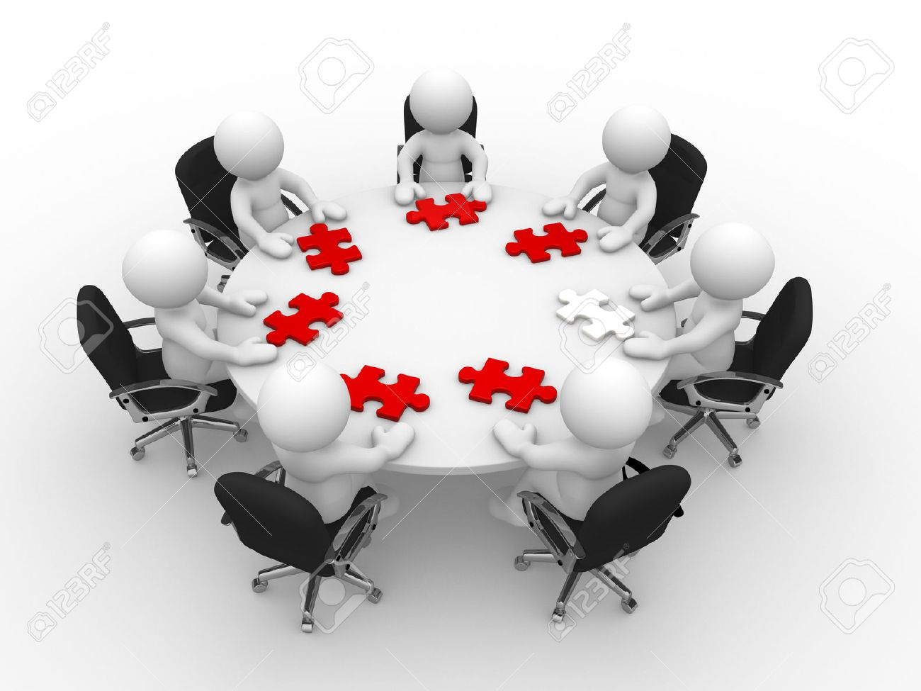 3d people - man, person at a round table and puzzle pieces ( jigsaw) Standard-Bild - 25450985
