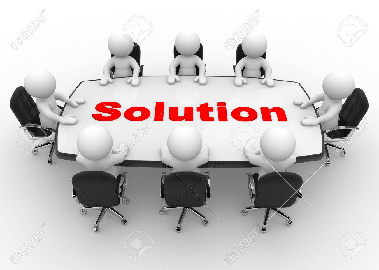 3d people - men, person at a conference table. Solution Standard-Bild - 32013506