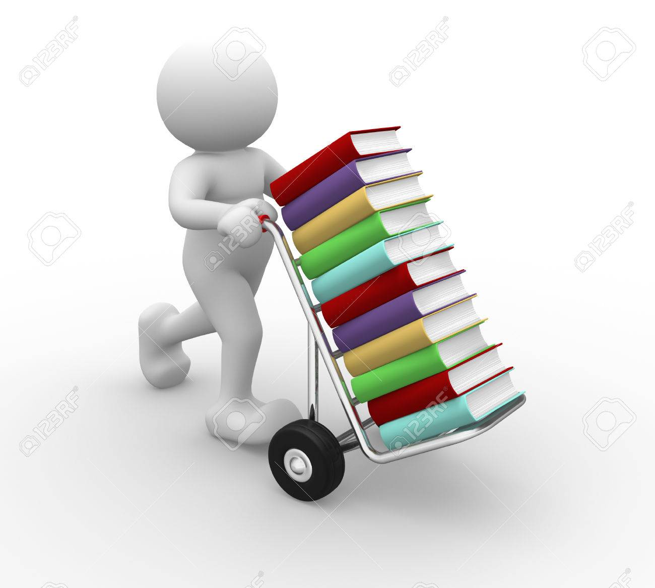 3d people - man, person with handtruck and books Standard-Bild - 33250024