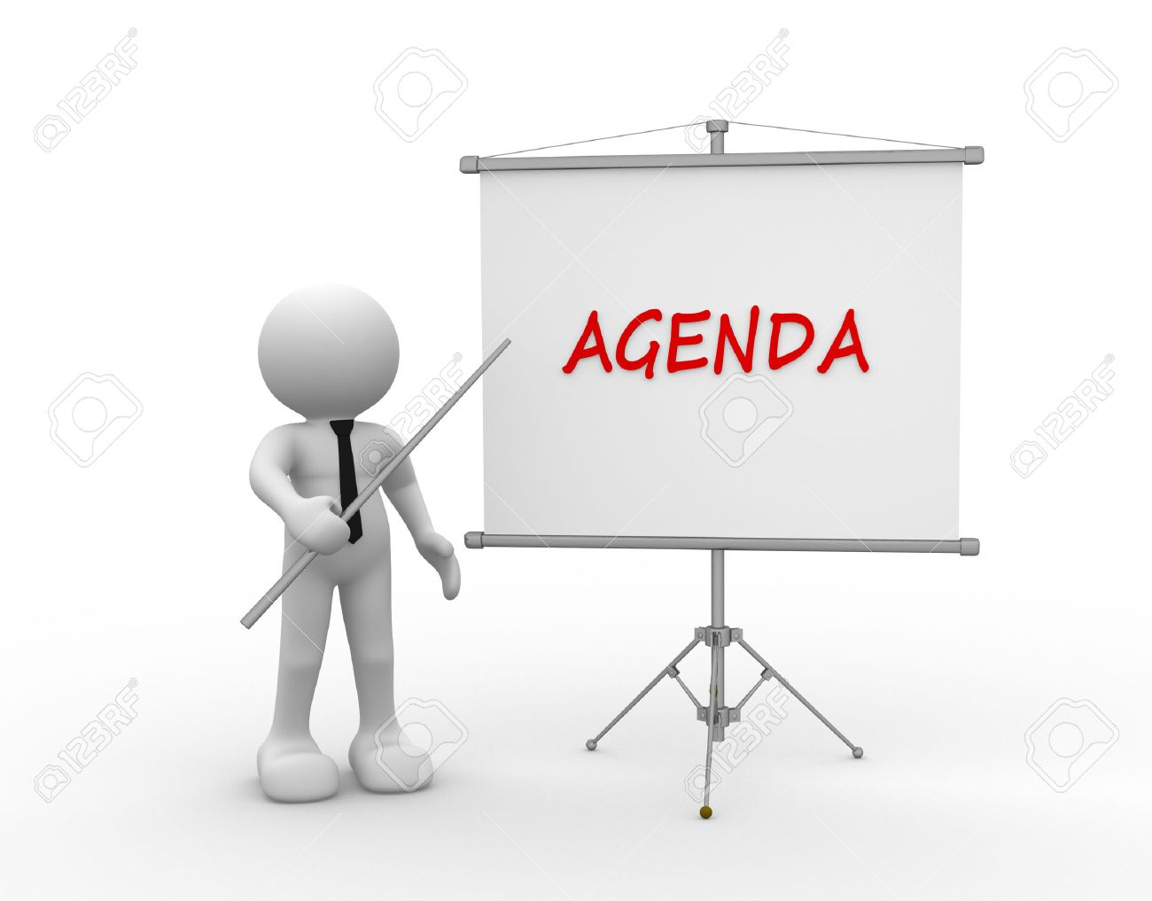 3d people - man, person and flipchart. Agenda Standard-Bild - 43041397