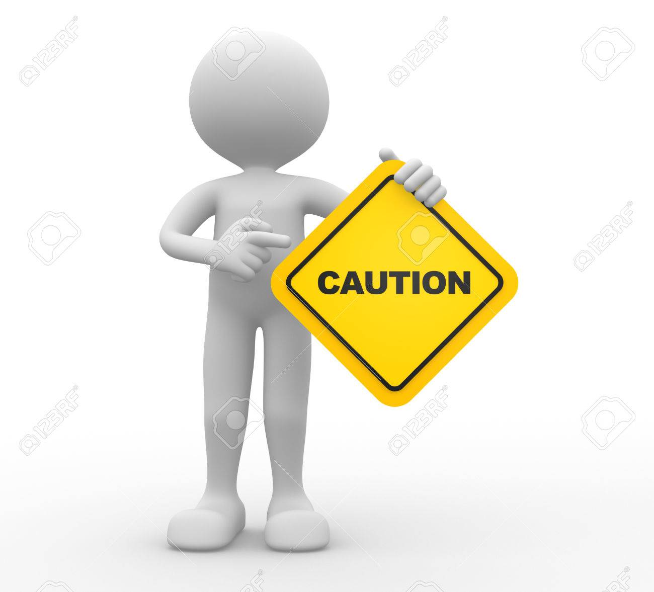 3d people - man, person holding road sign of caution Standard-Bild - 43289212