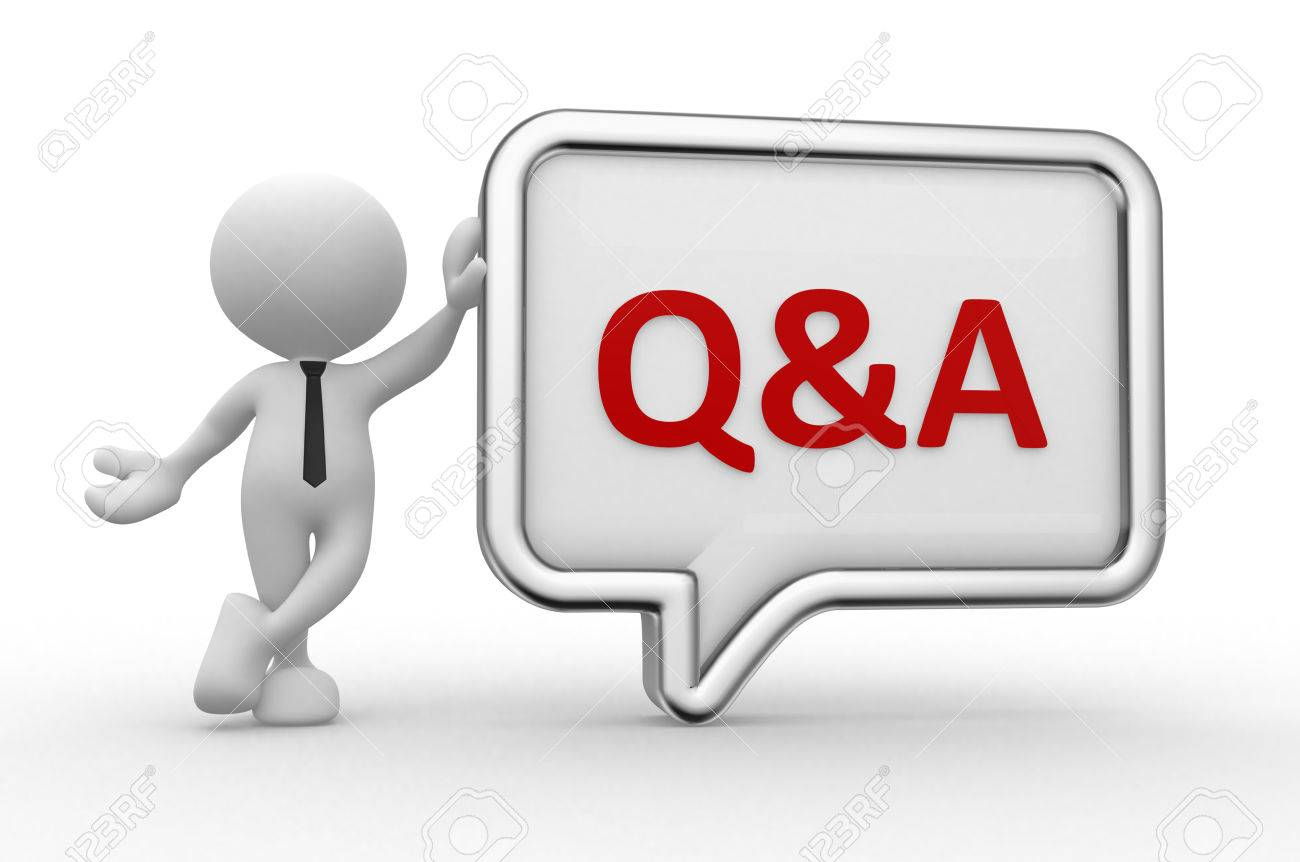 3d people - man, person with a speech bubble. Q&A - question and answer - 56302154