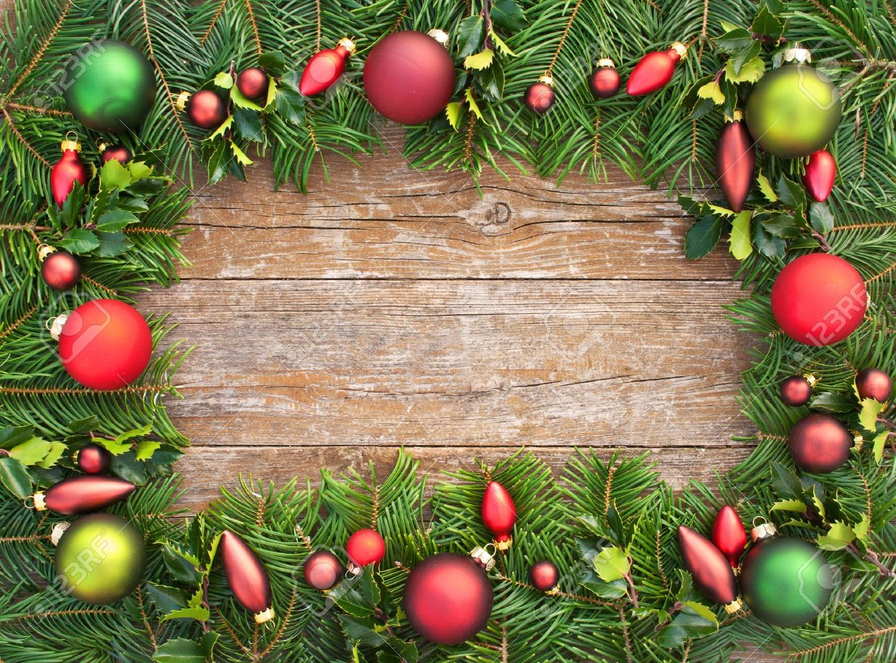 Frame With Christmas Tree Balls And Fir Branches On Wooden Table Christmas  Decoration Stock Photo