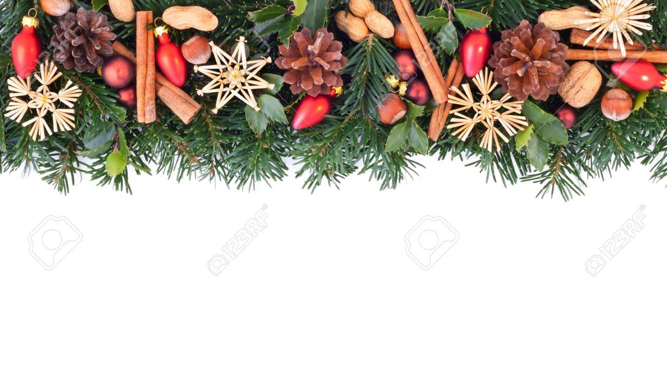 fir branches with christmas decoration Standard-Bild - 16655077