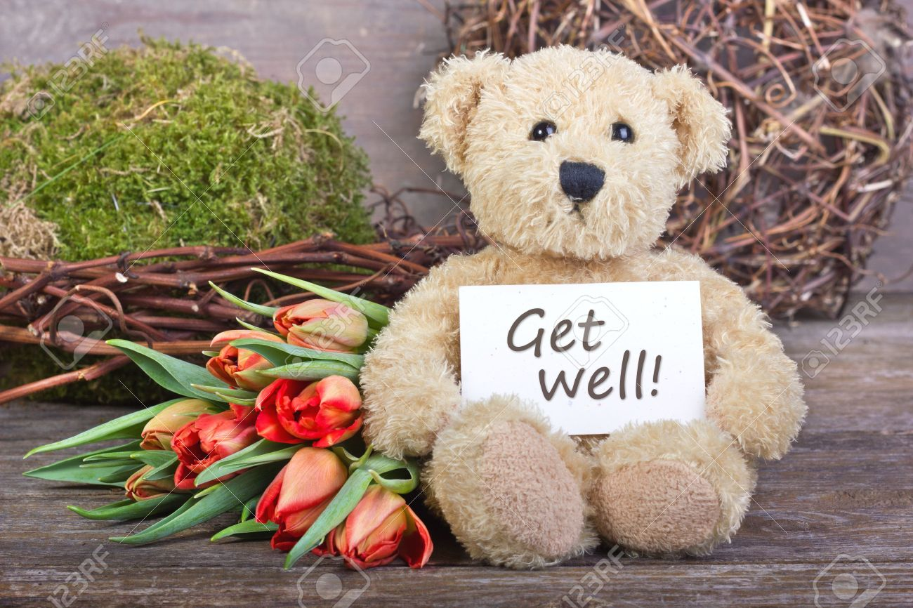 teddy  bear with flowers and card with lettering get well Standard-Bild - 17996305
