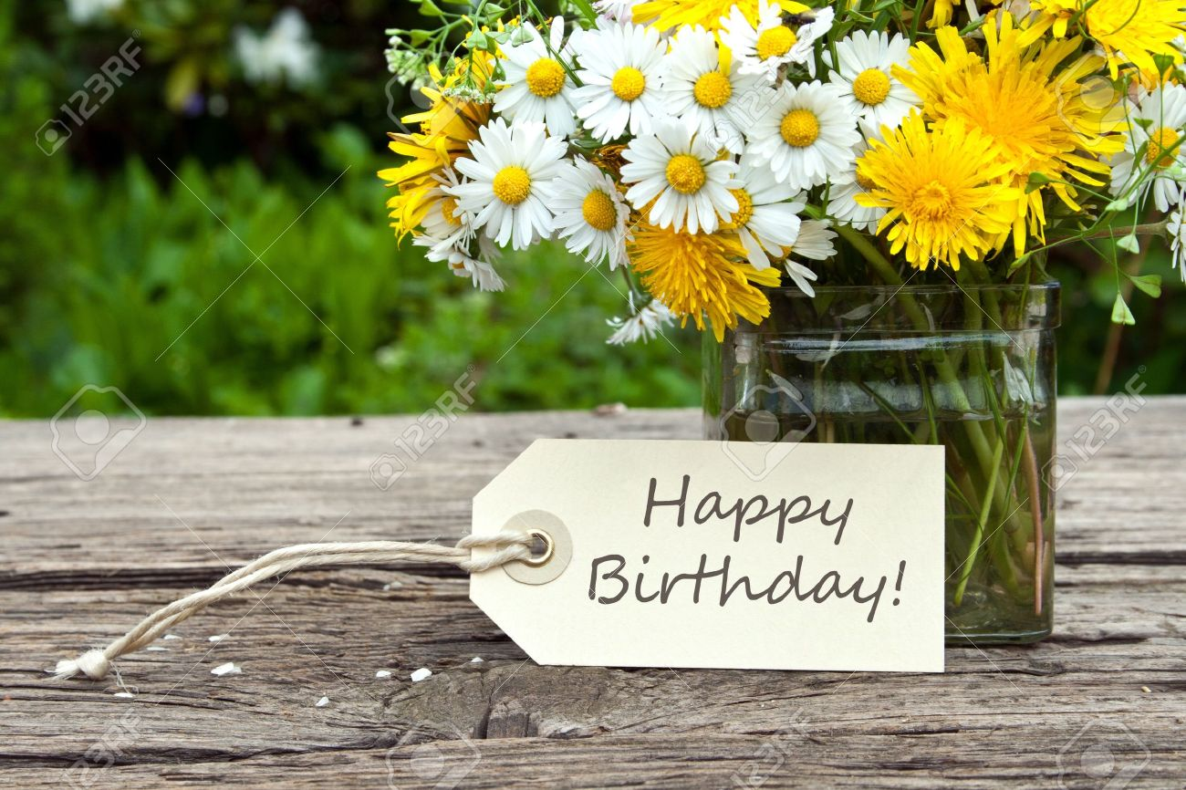Wild Flowers With Birthday Card Photo Picture And Royalty – Green Birthday Card