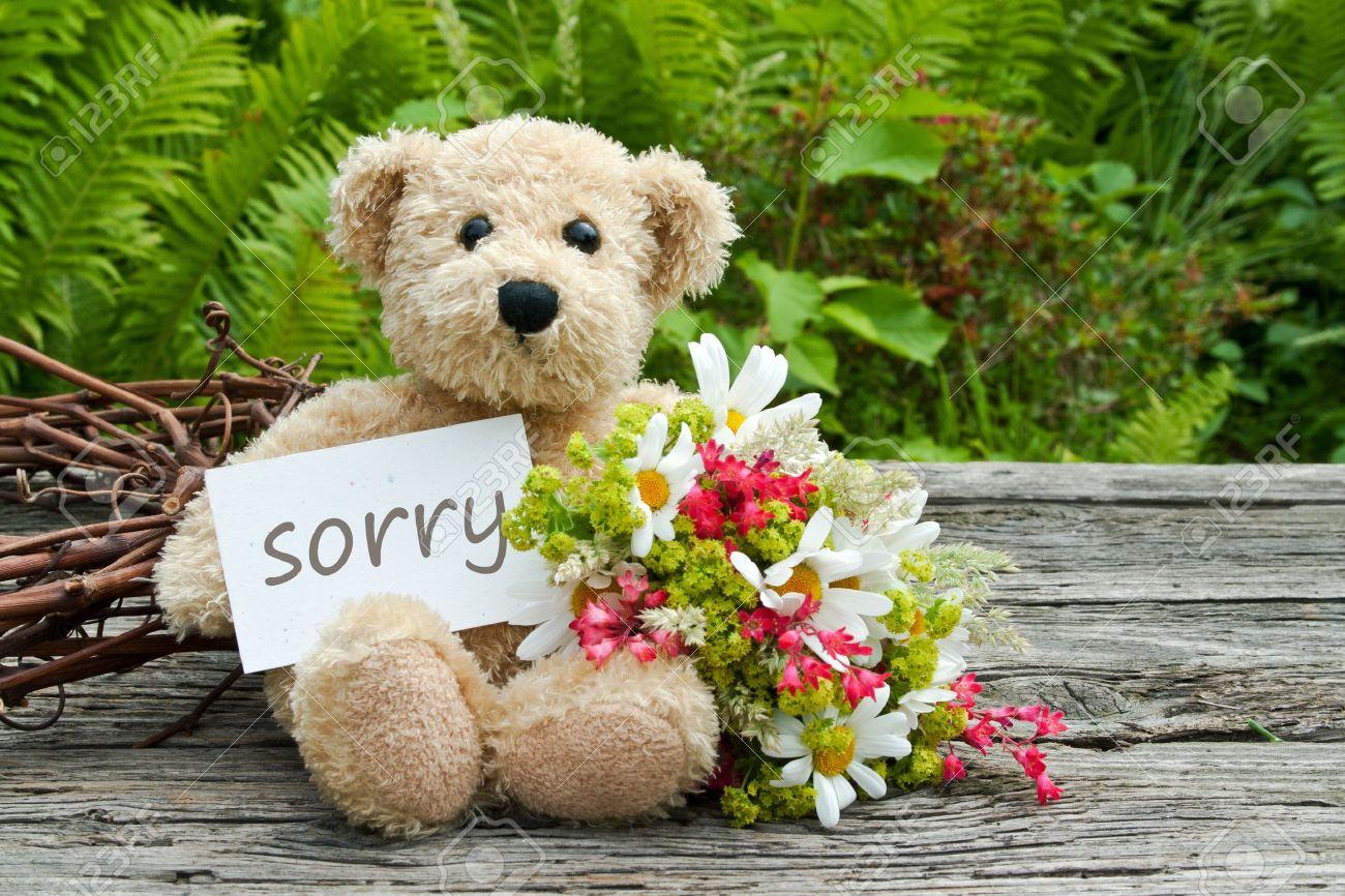 Teddybär mit Blumen und Karte mit Schriftzug leid Standard-Bild - 21133186