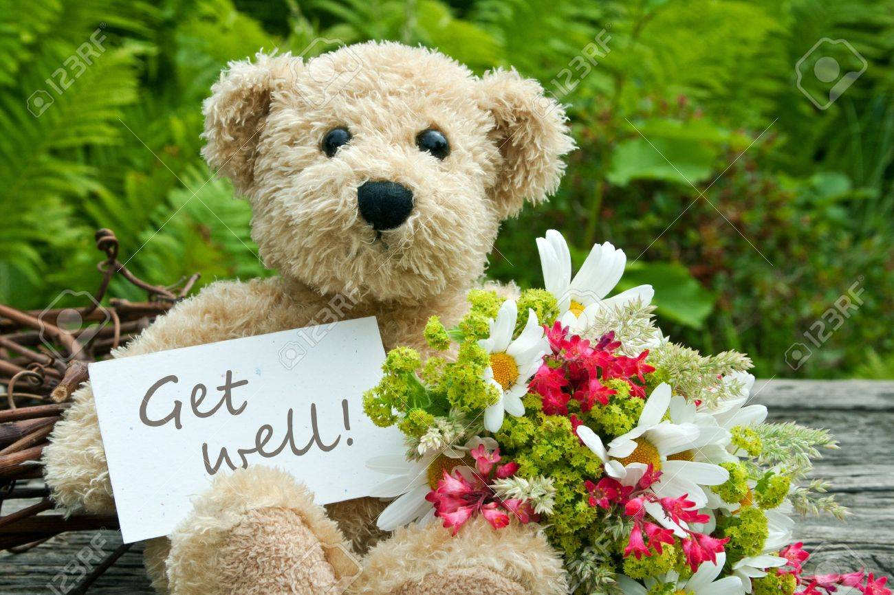 teddy bear with flowers and card with lettering get well Standard-Bild - 21133190