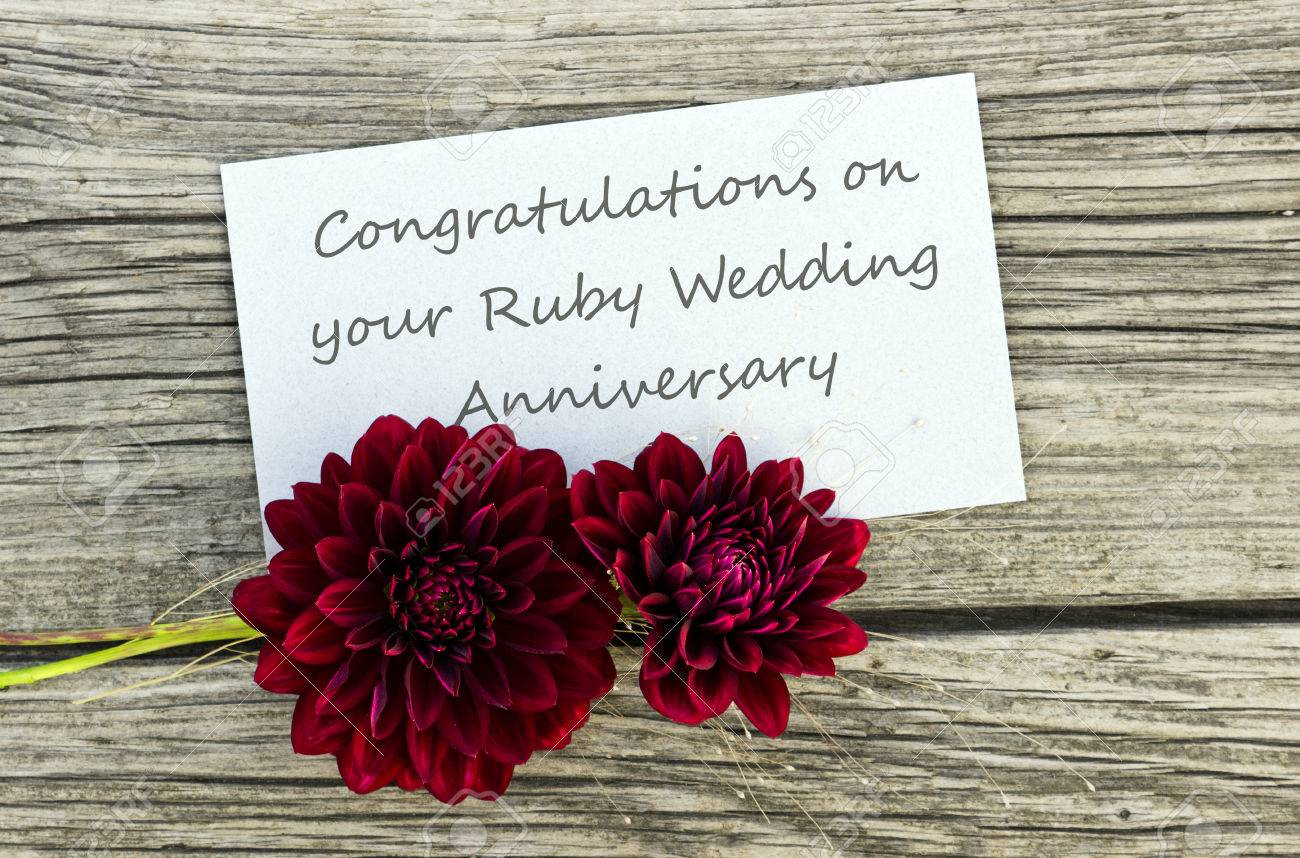 Ruby Wedding Anniversary Card With Red Flowers Stock Photo
