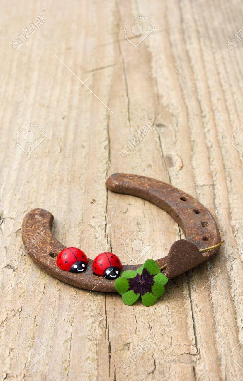 horseshoe with ladybugs and lucky clover Standard-Bild - 27255249