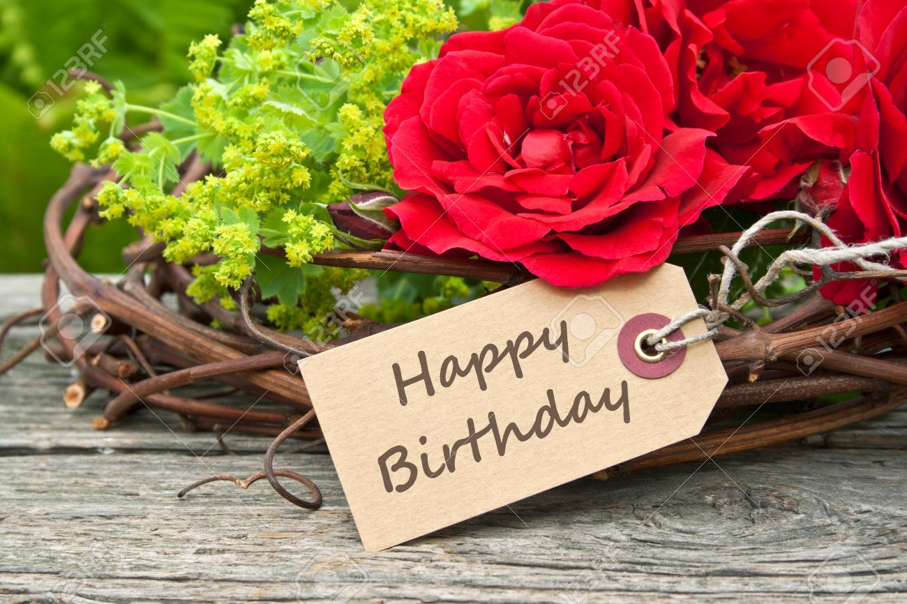 Birthday Card With Red Roses Stock Photo