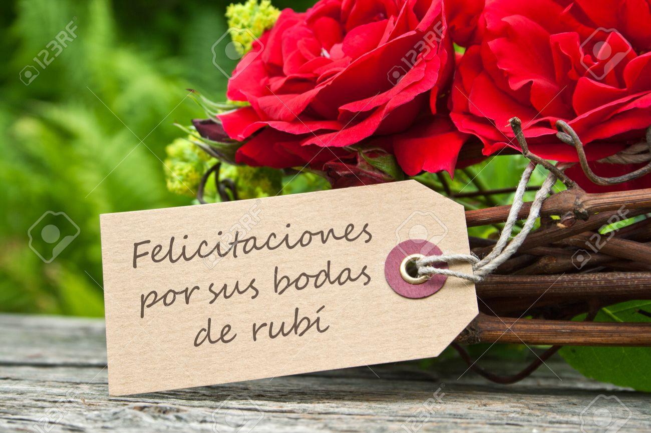 Rubí Boda Tarjeta De Aniversario Con Rosas Rojas