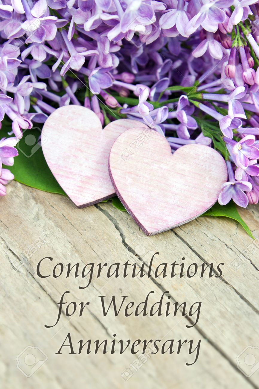 English Wedding Anniversary Card With Lilac Stock Photo