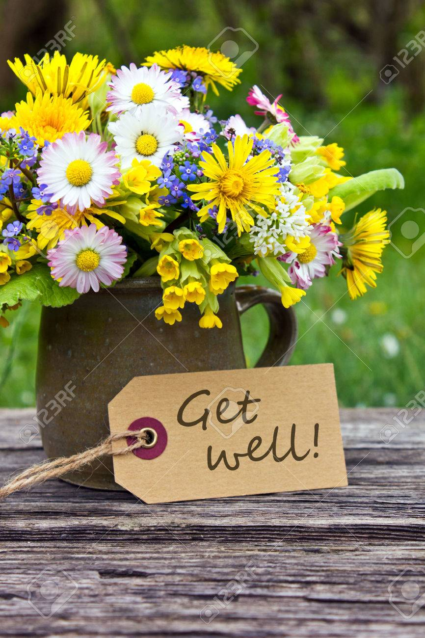 English get well card with spring flowers stock photo picture and english get well card with spring flowers stock photo 28385303 mightylinksfo