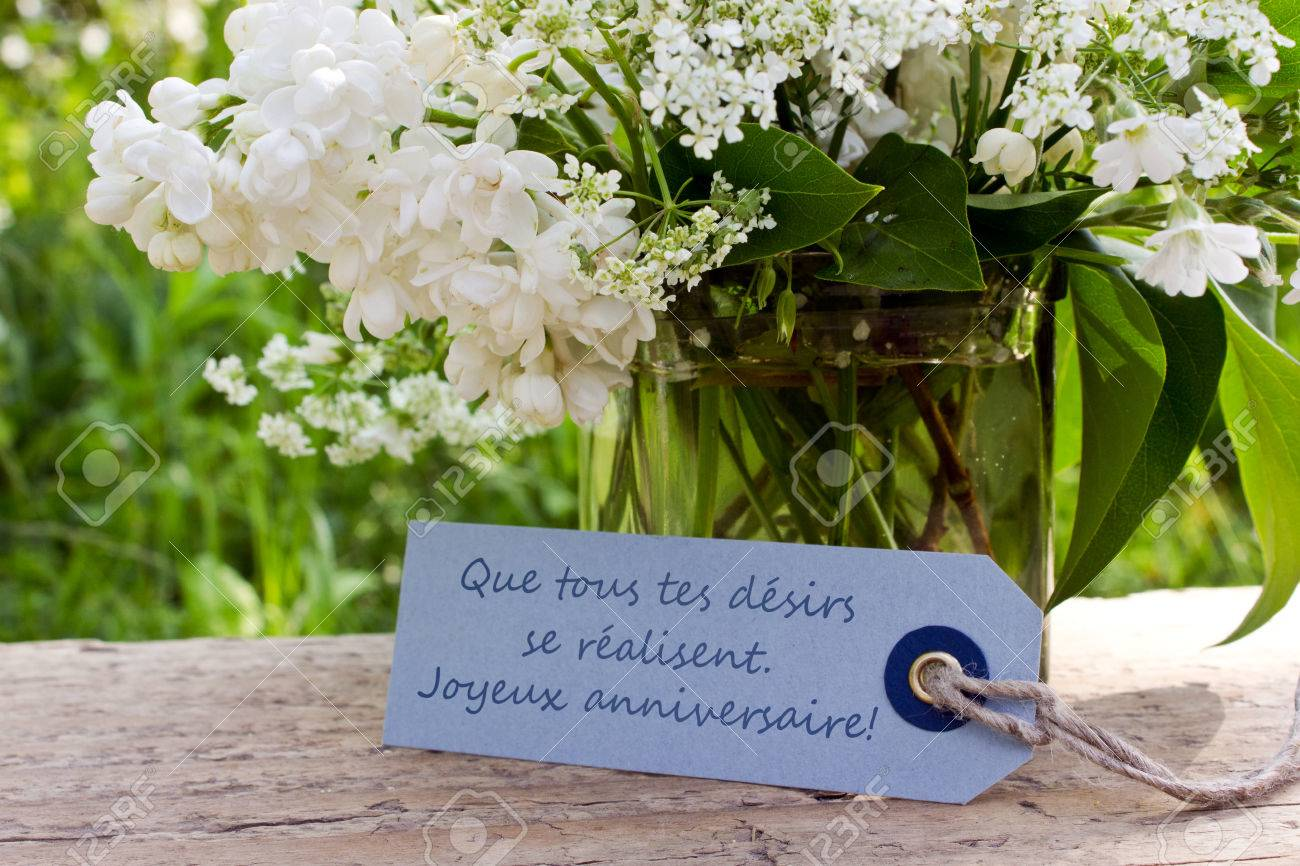 French Birthday Card With Lily Of The Valley And Lilac Photo – Birthday Greetings French