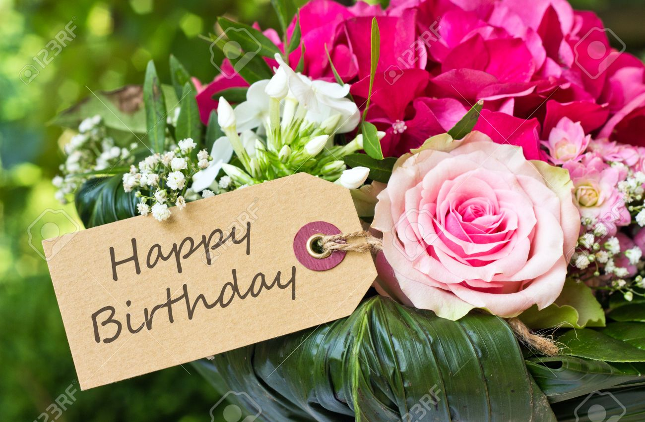 English Birthday Card With Pink Flowers Stock Photo