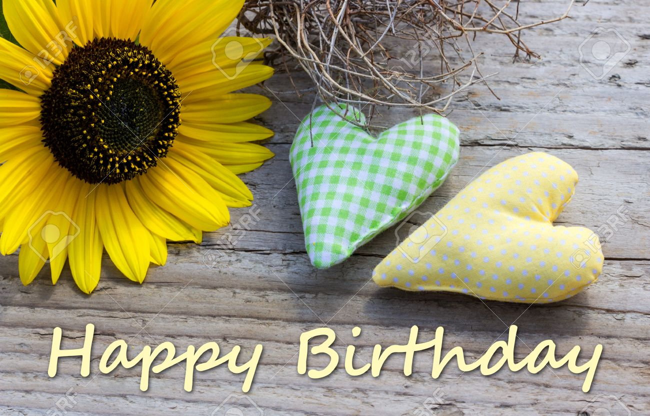 English Birthday Card With Sunflower And Two Hearts Stock Photo Picture And Royalty Free Image Image 31669845