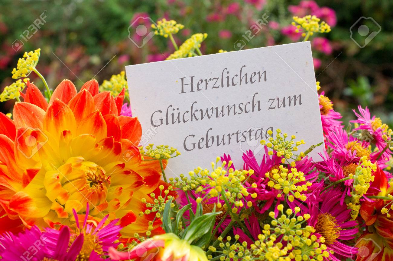 German Birthday Card With Dahlia And Asters Photo Picture – Birthday Card in German