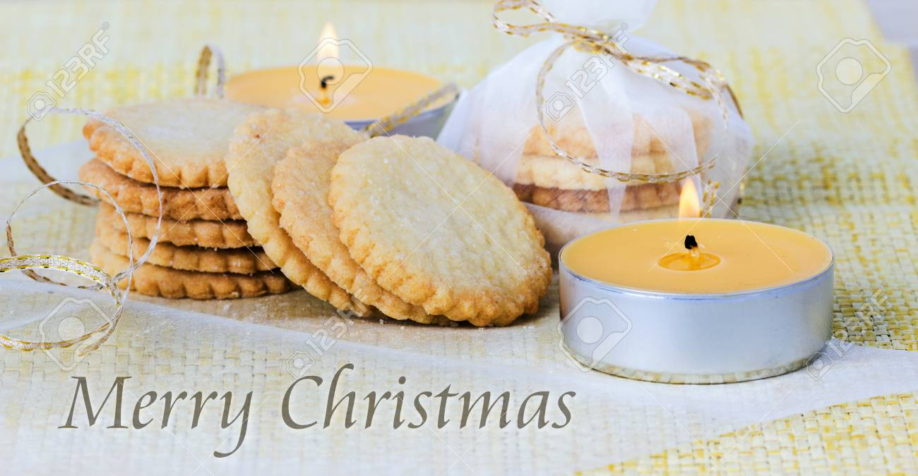 English Christmas Card With Cookies And Candles