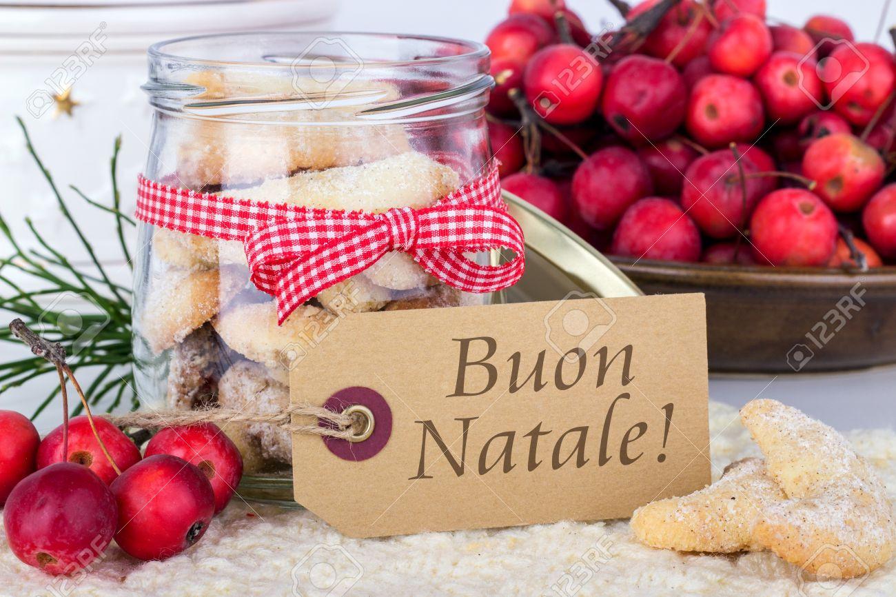 Italian christmas card with vanilla crescents and text merry italian christmas card with vanilla crescents and text merry christmas stock photo 34324850 kristyandbryce Images