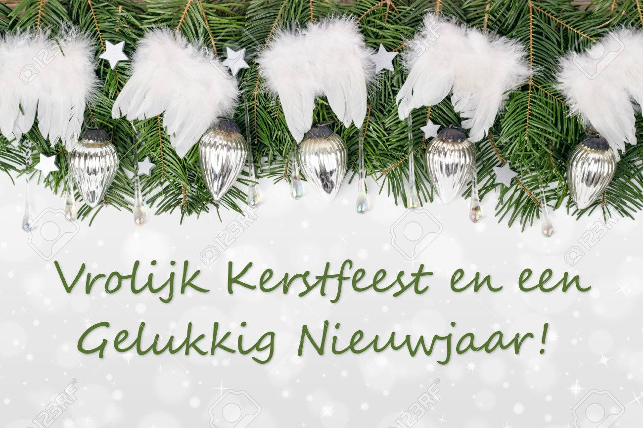 Dutch christmas card with pine green baubles angel wings and dutch christmas card with pine green baubles angel wings and text merry christmas and m4hsunfo