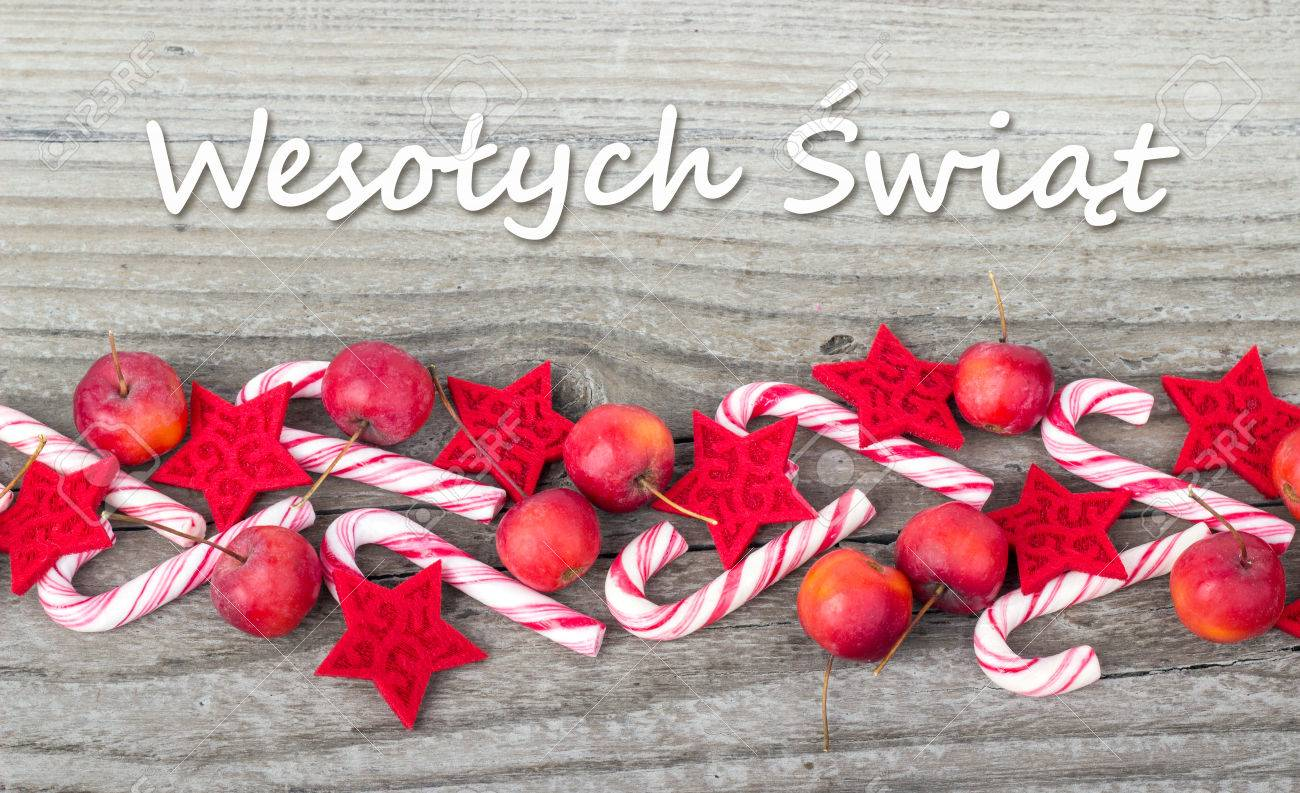 Merry Christmas In Polish.Polish Christmas Card With Candy Canes Apples And Text Merry