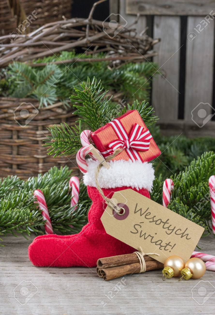 Merry Christmas In Polish.Polish Christmas Card With Red Sock Gifts Candy Canes And Text
