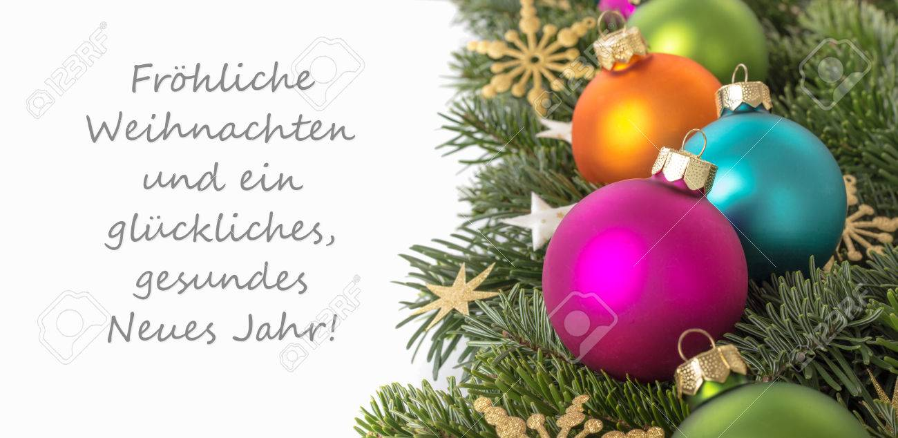 Merry christmas card in german christmaswalls german christmas card with baubles fir branches golden m4hsunfo