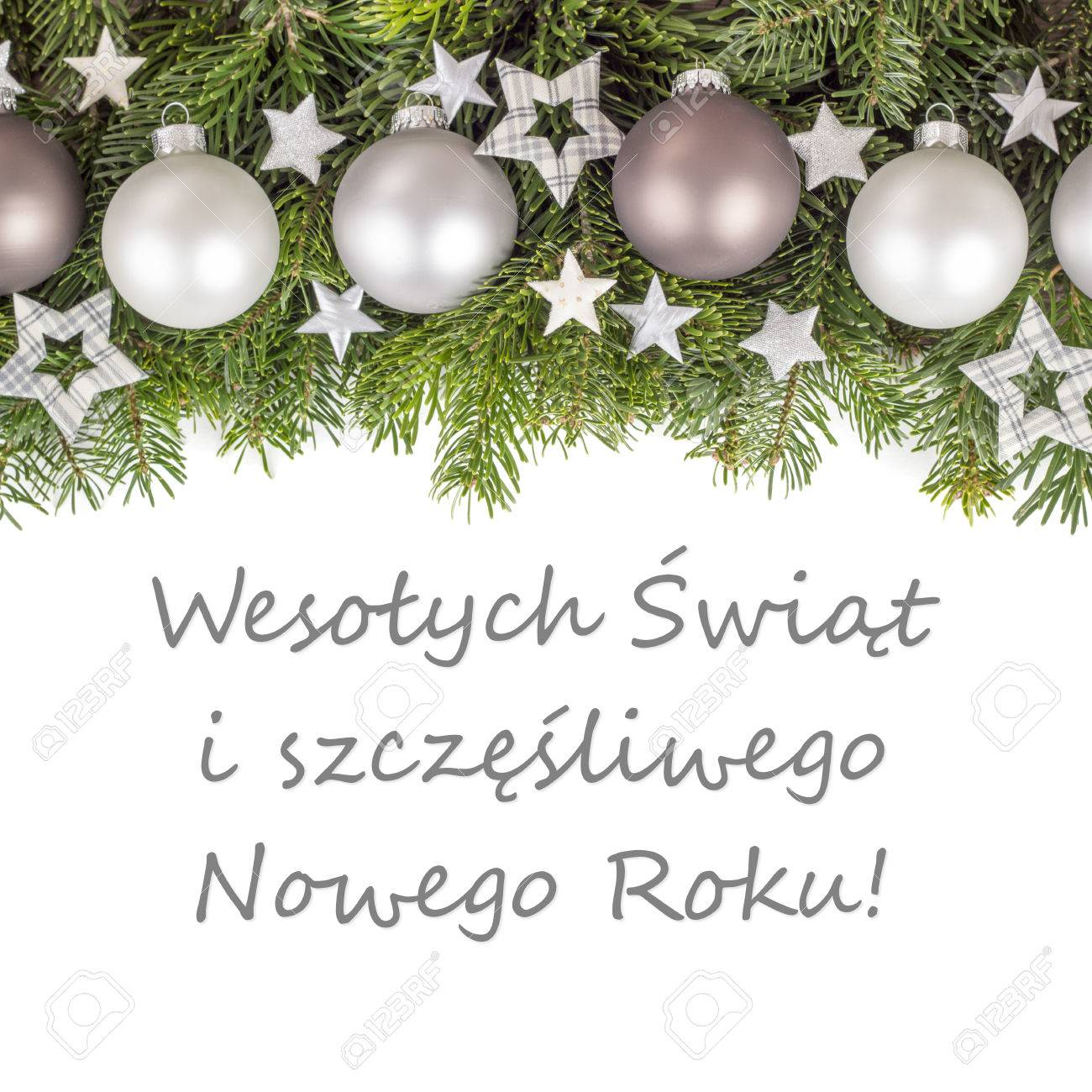 Merry Christmas In Polish.Polish Christmas Card With Christmas Baubles Fir Branches Golden