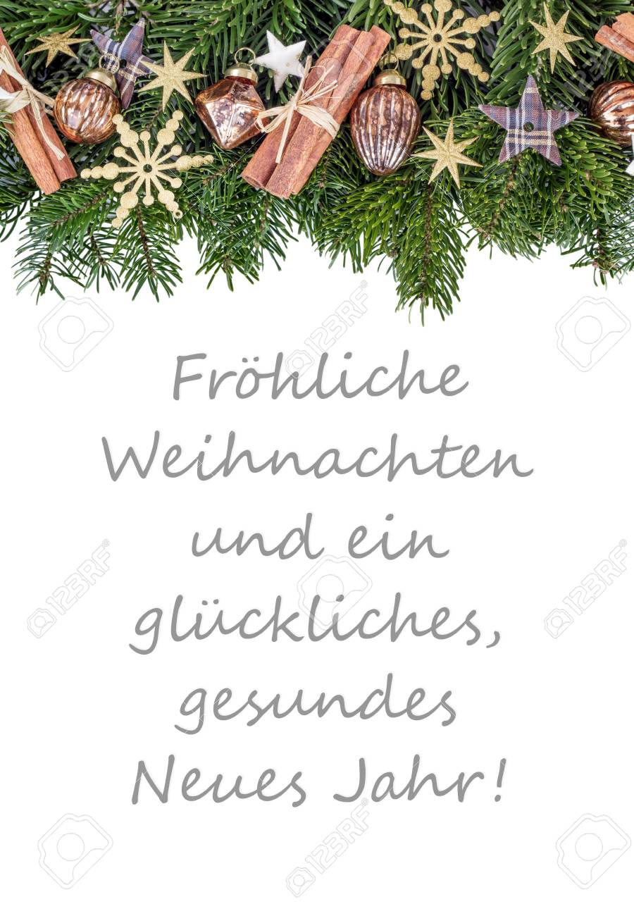 Merry Christmas To You.German Christmas Card With Christmas Baubles Fir Branches Stars