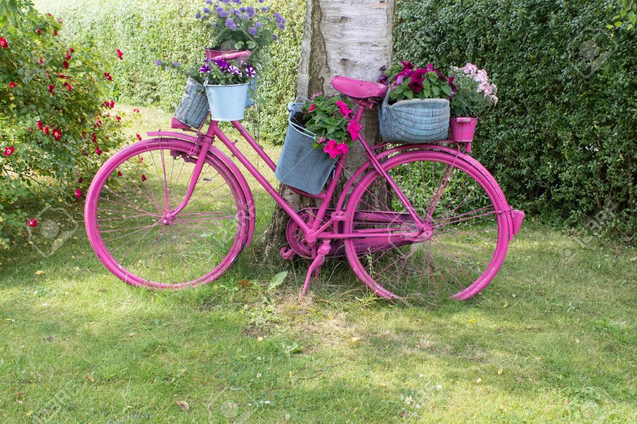 Un vélo rose avec des fleurs se dresse comme une décoration dans le jardin