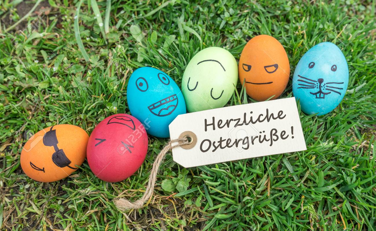 Greeting Card With German Text Warm Easter Greetings Stock Photo