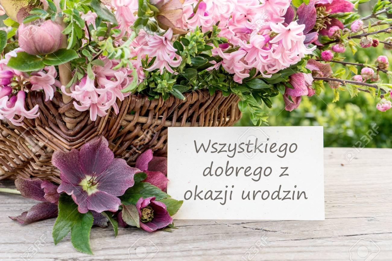 Polnische Geburtstagskarte Mit Hyazinthen Und Dem Text Herzlichen