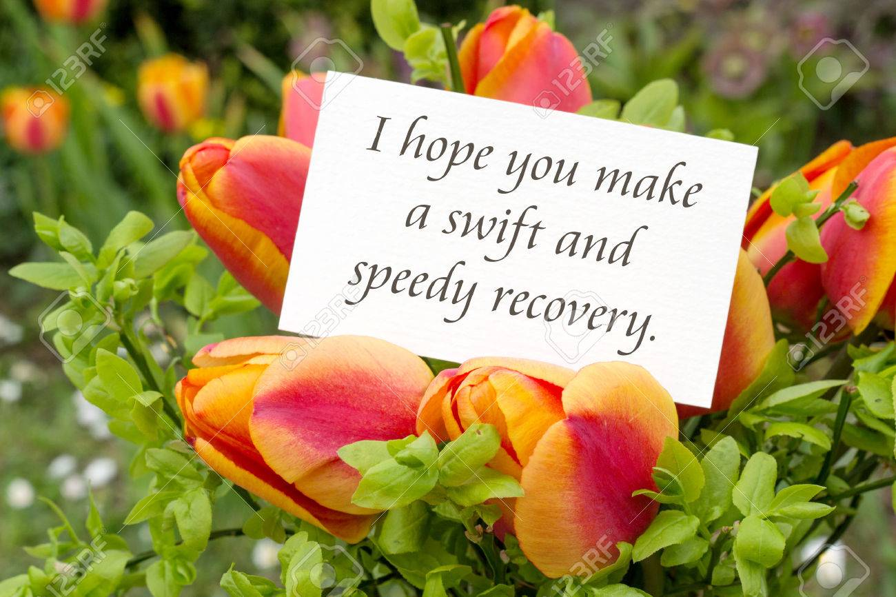 greeting card with tulips and english text i hope you make a swift and speedy