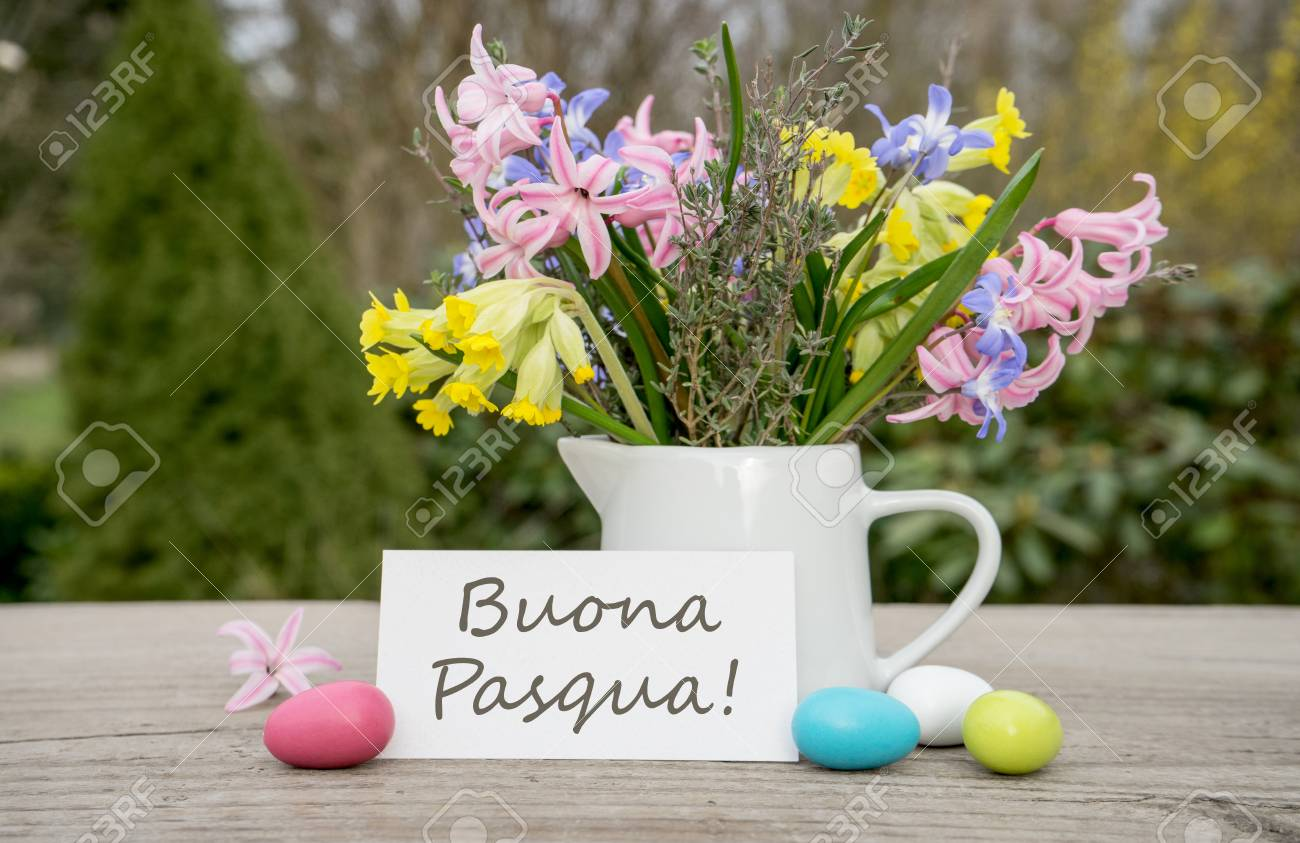 Italian greeting card for the easter celebration with the text italian greeting card for the easter celebration with the text happy easter stock photo m4hsunfo