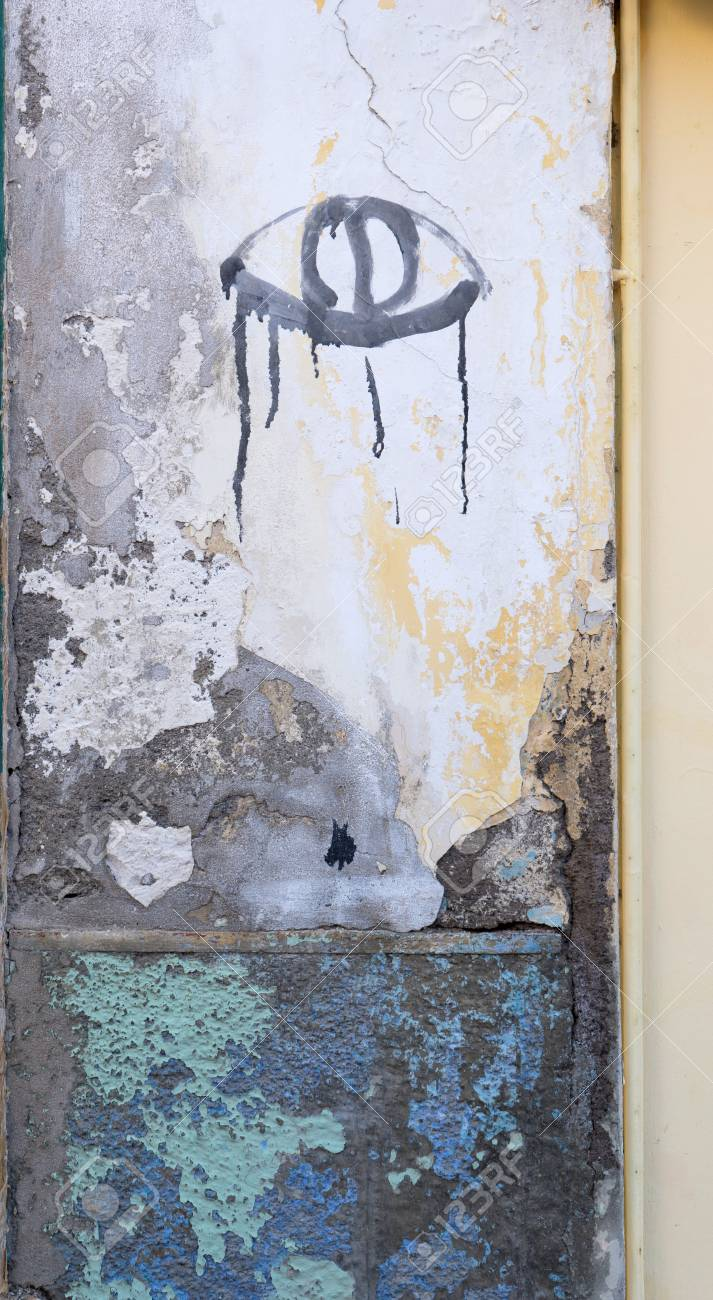 Wall Painting With Crying Eye