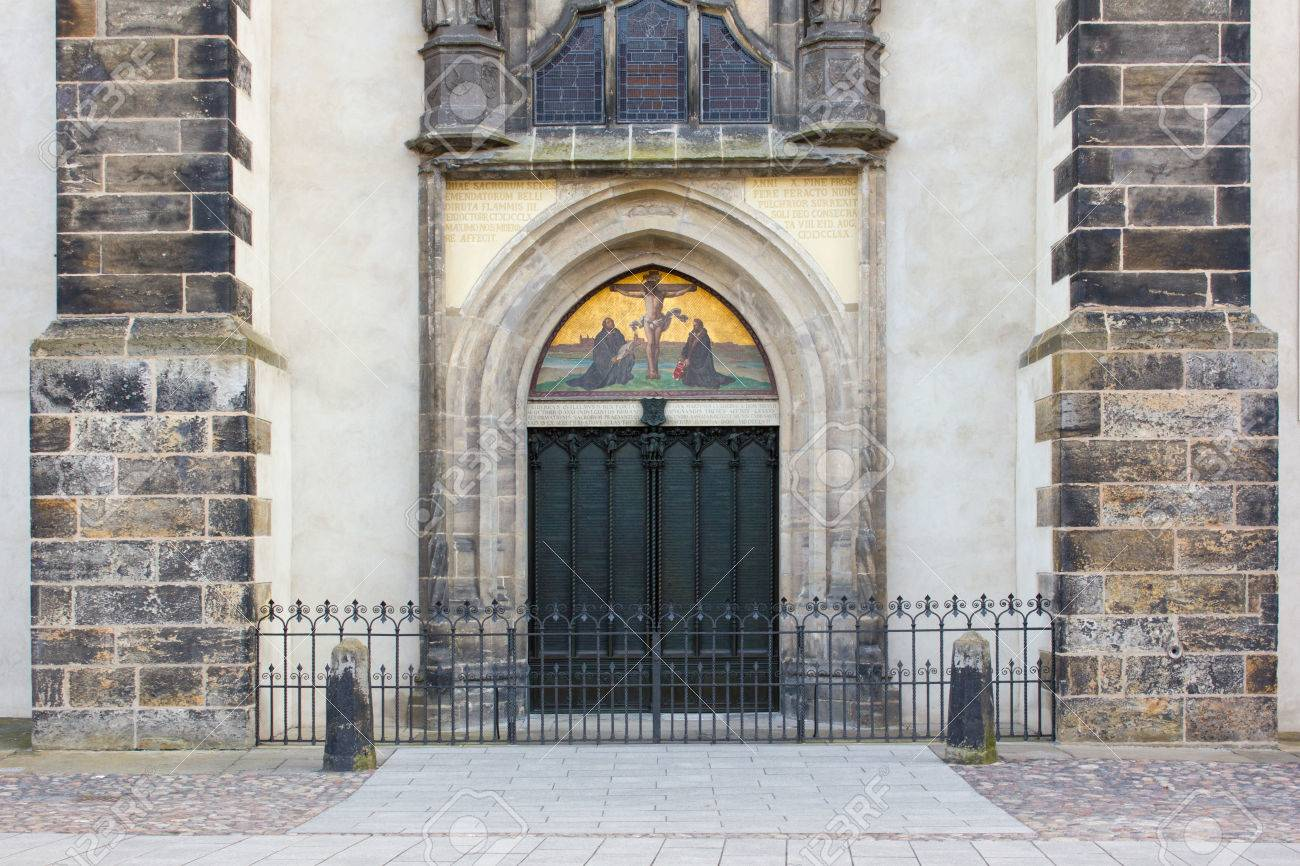 Door with theses of the castle church in the Luther city Wittenberg Stock Photo - 77456947 & Door With Theses Of The Castle Church In The Luther City Wittenberg ...