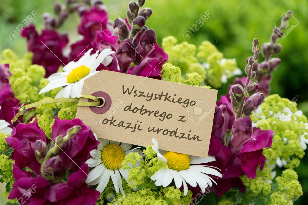 Polnische Geburtstagskarte Mit Dem Text Herzlichen Gluckwunsch Zum