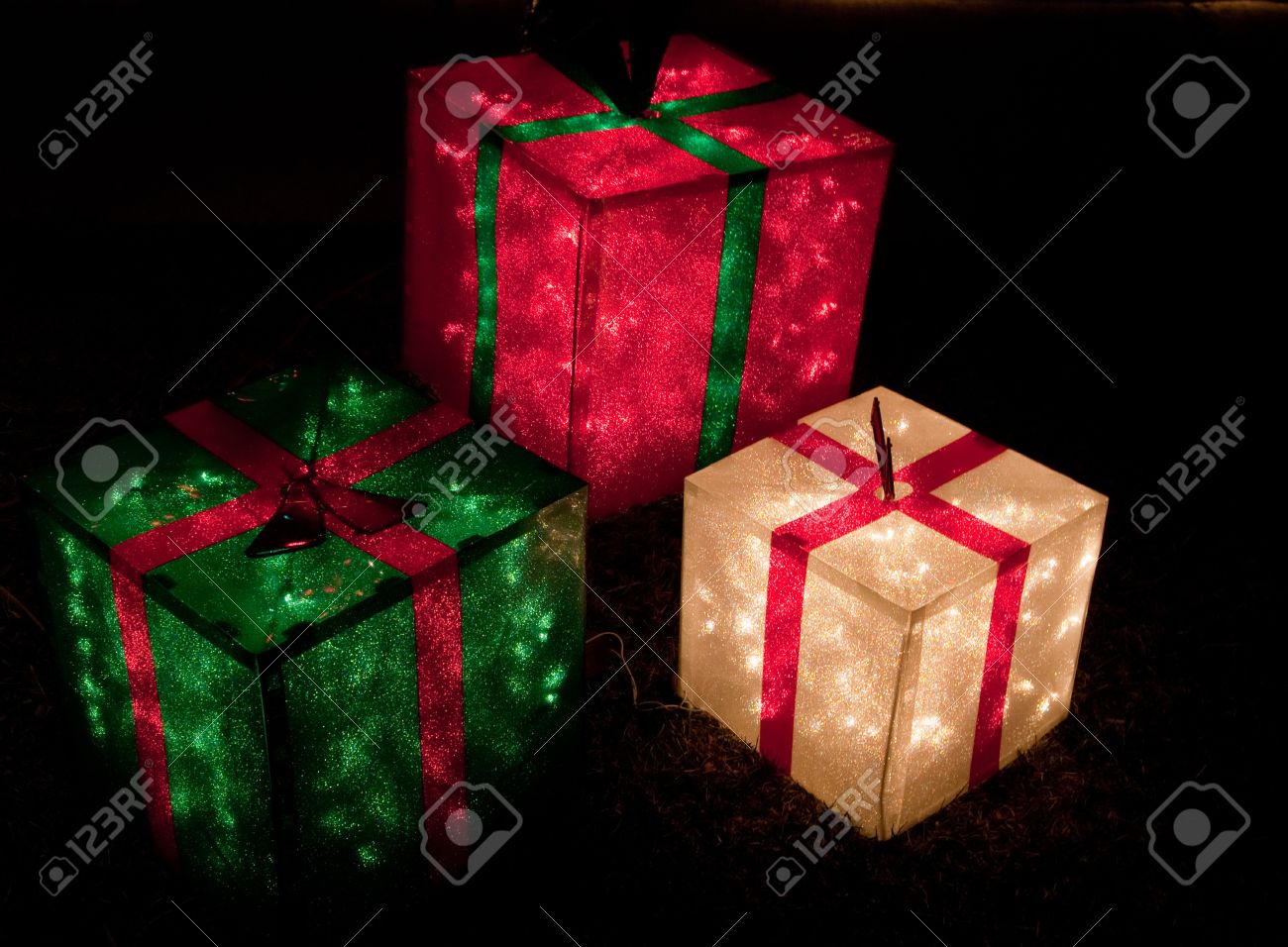 Red green and white lighted gift boxes for Christmas Stock Photo - 10391263 & Red Green And White Lighted Gift Boxes For Christmas Stock Photo ...