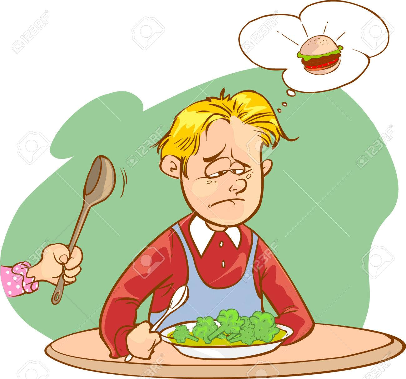 Ilustración Vectorial De Niños Que No Les Gusta Las Verduras